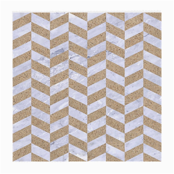 CHEVRON1 WHITE MARBLE & SAND Medium Glasses Cloth