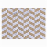 CHEVRON1 WHITE MARBLE & SAND Large Glasses Cloth (2-Side) Front