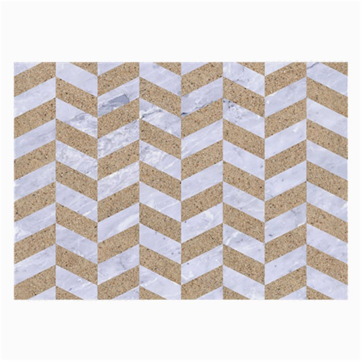 CHEVRON1 WHITE MARBLE & SAND Large Glasses Cloth (2-Side)