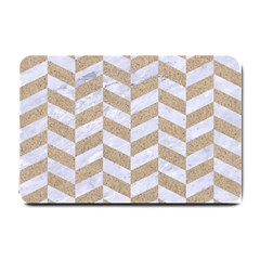 Chevron1 White Marble & Sand Small Doormat