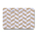 CHEVRON1 WHITE MARBLE & SAND Small Doormat  24 x16 Door Mat - 1