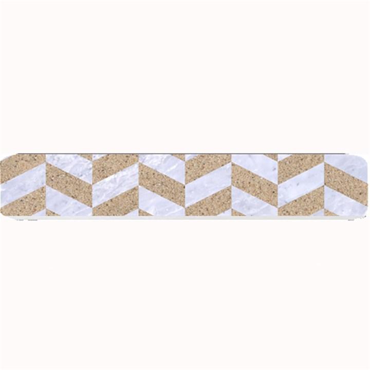 CHEVRON1 WHITE MARBLE & SAND Small Bar Mats
