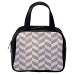 CHEVRON1 WHITE MARBLE & SAND Classic Handbags (2 Sides) Back