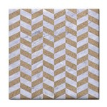 CHEVRON1 WHITE MARBLE & SAND Face Towel Front