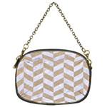 CHEVRON1 WHITE MARBLE & SAND Chain Purses (One Side)  Front