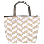 CHEVRON1 WHITE MARBLE & SAND Bucket Bags Back