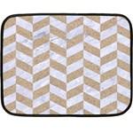 CHEVRON1 WHITE MARBLE & SAND Double Sided Fleece Blanket (Mini)  35 x27 Blanket Back