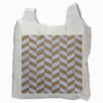 CHEVRON1 WHITE MARBLE & SAND Recycle Bag (Two Side)  Back