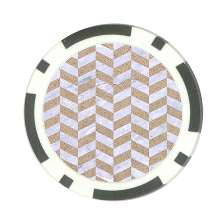 CHEVRON1 WHITE MARBLE & SAND Poker Chip Card Guard (10 pack)