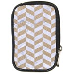 CHEVRON1 WHITE MARBLE & SAND Compact Camera Cases Front