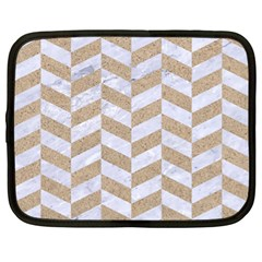 Chevron1 White Marble & Sand Netbook Case (xl)