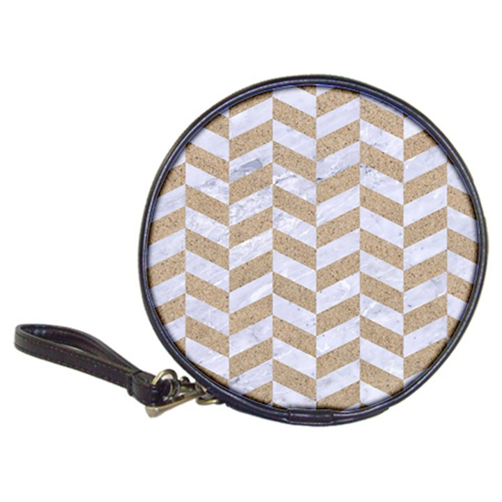 CHEVRON1 WHITE MARBLE & SAND Classic 20-CD Wallets