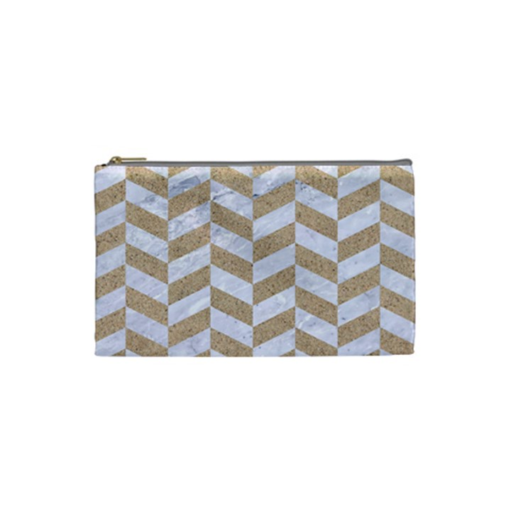CHEVRON1 WHITE MARBLE & SAND Cosmetic Bag (Small)