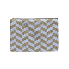 Chevron1 White Marble & Sand Cosmetic Bag (medium)