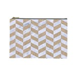 CHEVRON1 WHITE MARBLE & SAND Cosmetic Bag (Large)  Front
