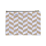 CHEVRON1 WHITE MARBLE & SAND Cosmetic Bag (Large)  Back