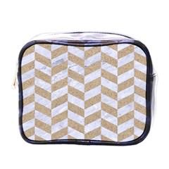 Chevron1 White Marble & Sand Mini Toiletries Bags