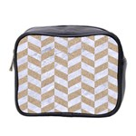 CHEVRON1 WHITE MARBLE & SAND Mini Toiletries Bag 2-Side Front