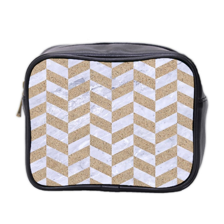 CHEVRON1 WHITE MARBLE & SAND Mini Toiletries Bag 2-Side