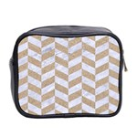 CHEVRON1 WHITE MARBLE & SAND Mini Toiletries Bag 2-Side Back
