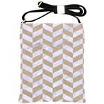 CHEVRON1 WHITE MARBLE & SAND Shoulder Sling Bags Front