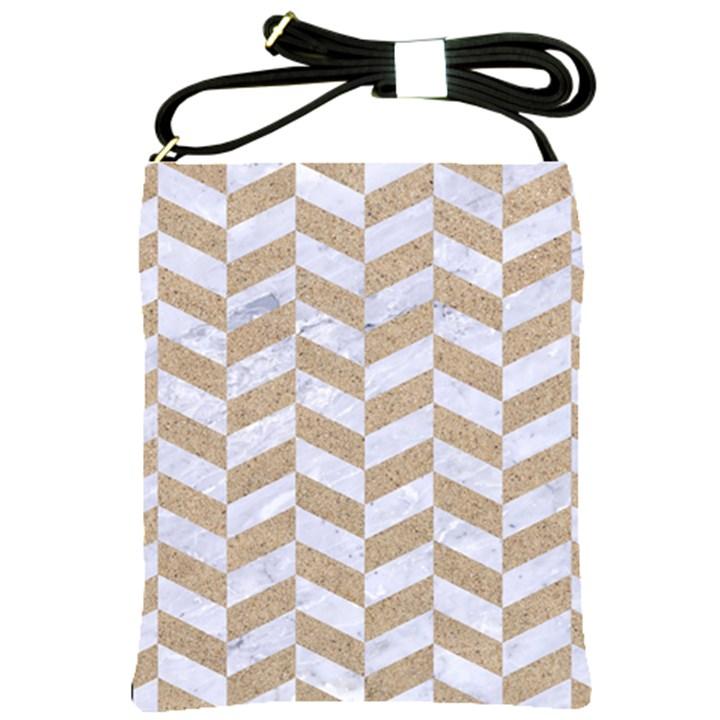 CHEVRON1 WHITE MARBLE & SAND Shoulder Sling Bags