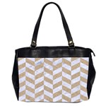 CHEVRON1 WHITE MARBLE & SAND Office Handbags (2 Sides)  Front