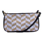 CHEVRON1 WHITE MARBLE & SAND Shoulder Clutch Bags Front
