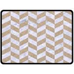 CHEVRON1 WHITE MARBLE & SAND Fleece Blanket (Large)  80 x60 Blanket Front