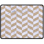 CHEVRON1 WHITE MARBLE & SAND Fleece Blanket (Medium)  60 x50 Blanket Front