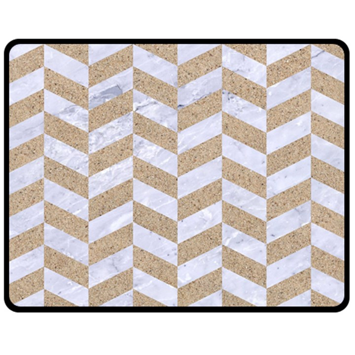 CHEVRON1 WHITE MARBLE & SAND Fleece Blanket (Medium)