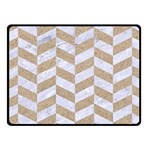 CHEVRON1 WHITE MARBLE & SAND Fleece Blanket (Small) 50 x40 Blanket Front