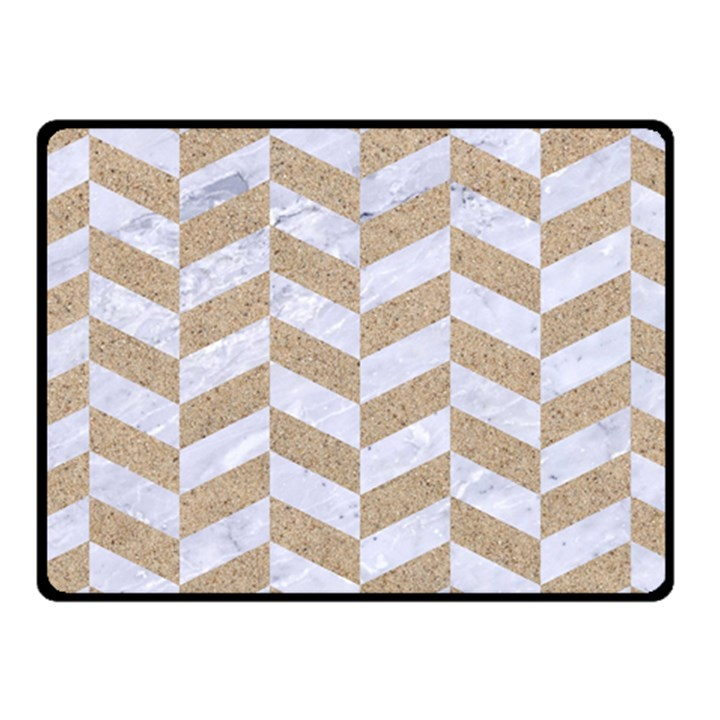 CHEVRON1 WHITE MARBLE & SAND Fleece Blanket (Small)