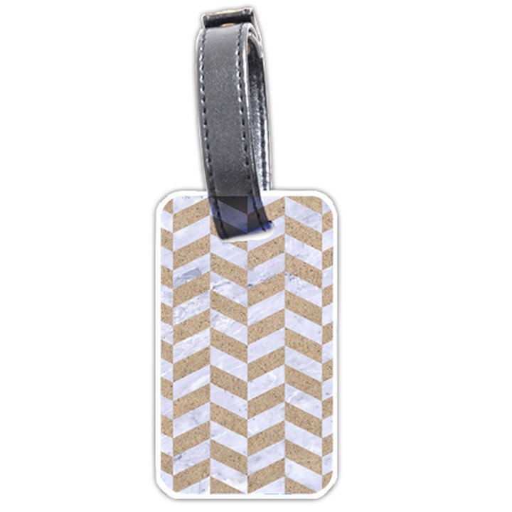 CHEVRON1 WHITE MARBLE & SAND Luggage Tags (One Side)