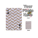 CHEVRON1 WHITE MARBLE & SAND Playing Cards 54 (Mini)  Front - Club6