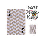 CHEVRON1 WHITE MARBLE & SAND Playing Cards 54 (Mini)  Front - Spade9