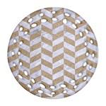 CHEVRON1 WHITE MARBLE & SAND Round Filigree Ornament (Two Sides) Back