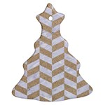 CHEVRON1 WHITE MARBLE & SAND Christmas Tree Ornament (Two Sides) Front