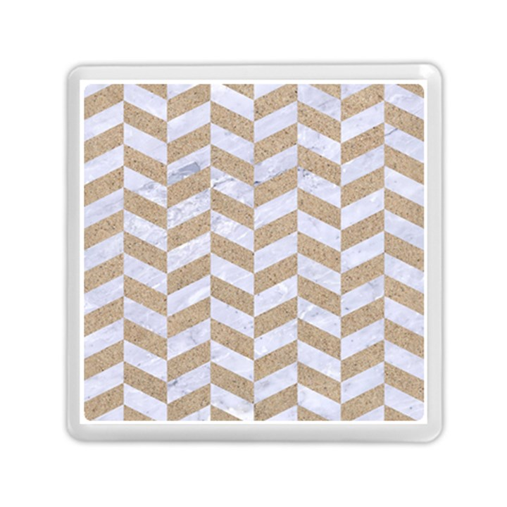 CHEVRON1 WHITE MARBLE & SAND Memory Card Reader (Square)