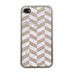CHEVRON1 WHITE MARBLE & SAND Apple iPhone 4 Case (Clear) Front