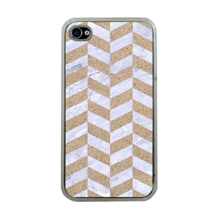 CHEVRON1 WHITE MARBLE & SAND Apple iPhone 4 Case (Clear)