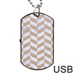 CHEVRON1 WHITE MARBLE & SAND Dog Tag USB Flash (One Side) Front