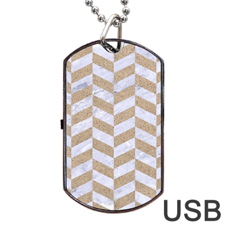 CHEVRON1 WHITE MARBLE & SAND Dog Tag USB Flash (One Side)