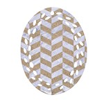 CHEVRON1 WHITE MARBLE & SAND Oval Filigree Ornament (Two Sides) Front