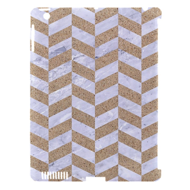 CHEVRON1 WHITE MARBLE & SAND Apple iPad 3/4 Hardshell Case (Compatible with Smart Cover)