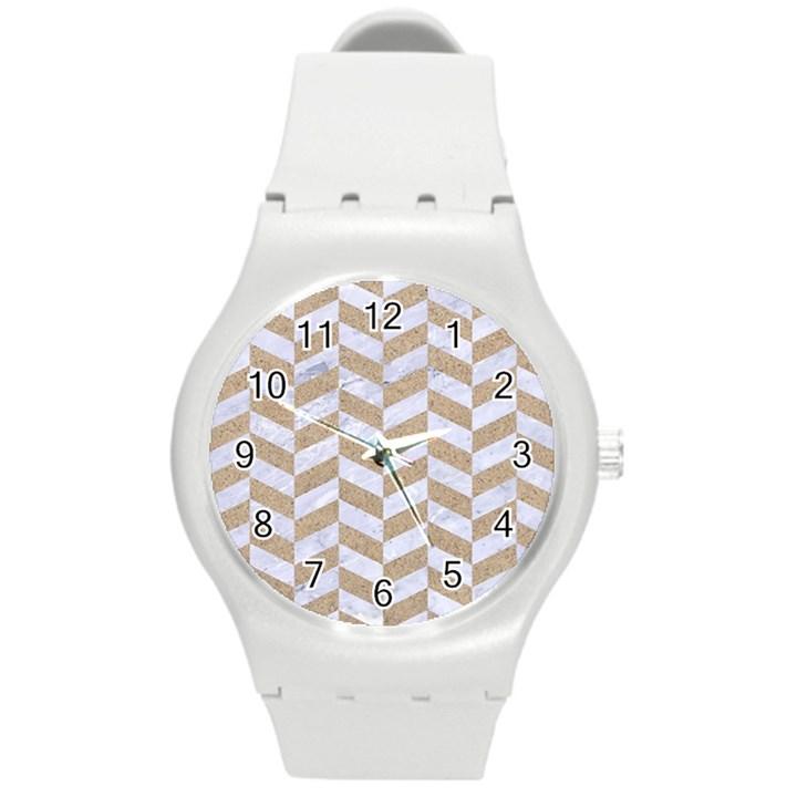 CHEVRON1 WHITE MARBLE & SAND Round Plastic Sport Watch (M)