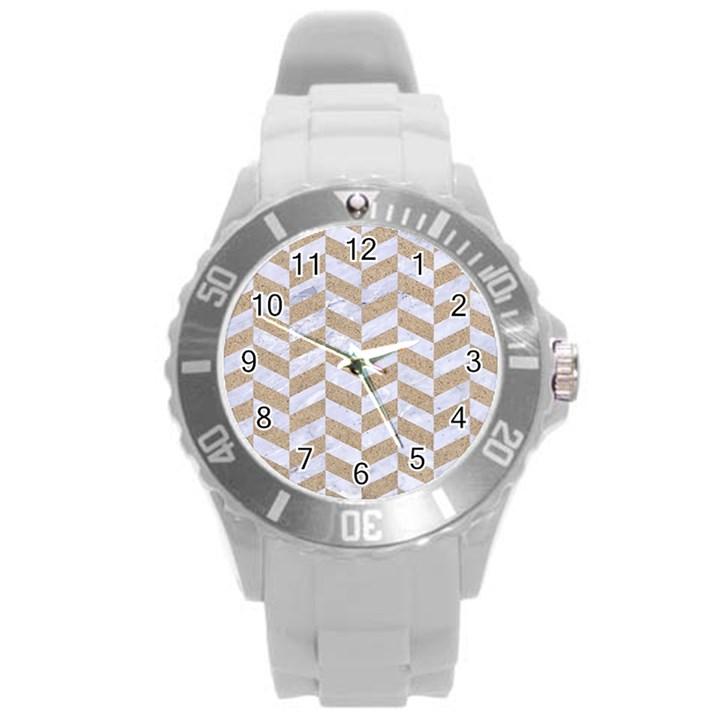 CHEVRON1 WHITE MARBLE & SAND Round Plastic Sport Watch (L)