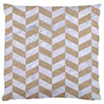 CHEVRON1 WHITE MARBLE & SAND Large Cushion Case (Two Sides) Front