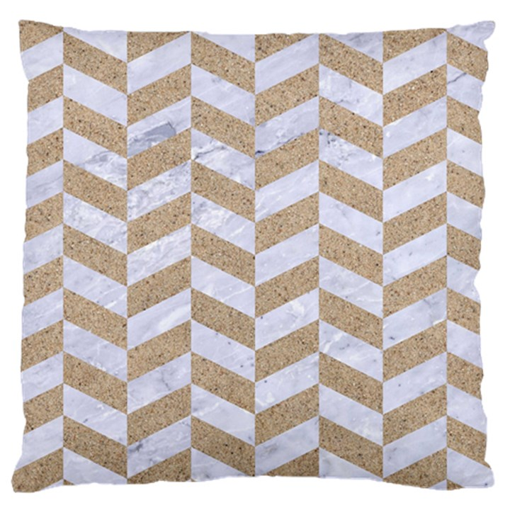 CHEVRON1 WHITE MARBLE & SAND Large Cushion Case (Two Sides)