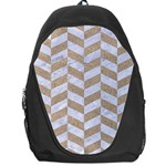 CHEVRON1 WHITE MARBLE & SAND Backpack Bag Front